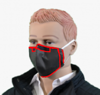 Stoffmaske für Mund und Nase schwarz mit color (10er Pack)